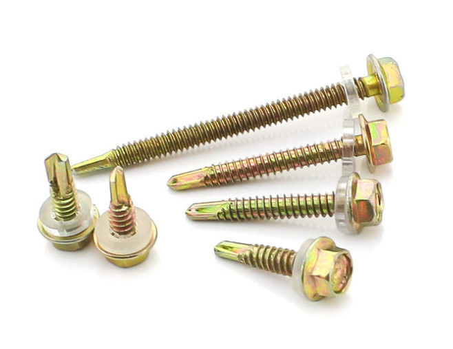 Tapping Thread Tek Self Drilling Screws With Rubber Washer , Hex Washer Head Screws
