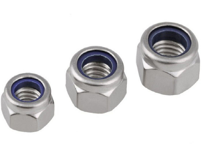 Hex Lock Self Locked Screw Nut And Washer With Nylon Collar Insert Plain Finish